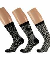 Dames fashion sokken pak zwart wit maat type