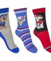 Paw patrol jongens sokken pak blauw rood