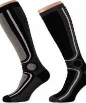 X paar zwarte thermo skisokken heren 10190023