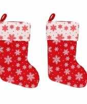 X rood witte kerstsokken sneeuwvlokken 10243571
