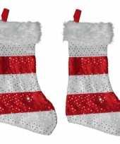 X stuks kerstsokken rood wit 10257380