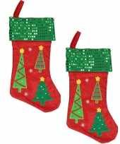 X stuks rood groene kerstsokken kerstbomen 10310675