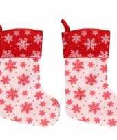 X wit rode kerstsokken sneeuwvlokken 10253198